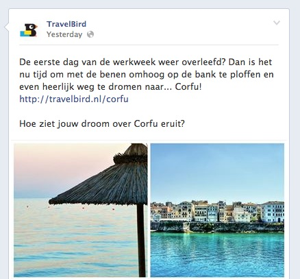 Facebook Travelbird example simple interactive question with photos